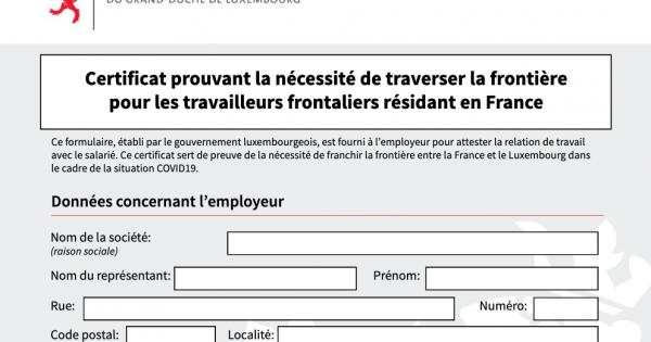 Trabalhadores fronteiriços residentes em França: certificado que comprova a necessidade de atravessar a fronteira