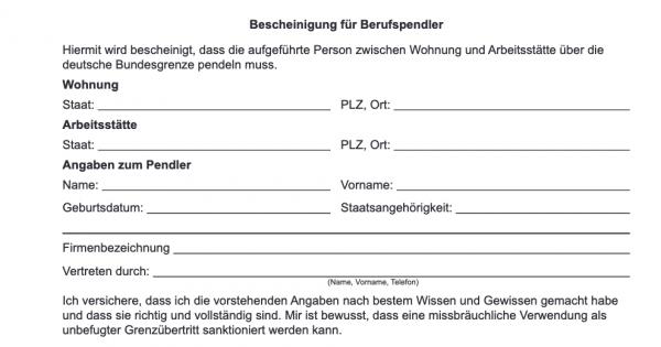 Frontaliers résidant en Allemagne : certificat prouvant la nécessité de traverser la frontière